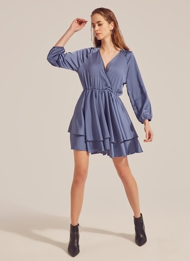Monamoda Saten Yüzeyli Anvelop Kapama Elbise İndigo